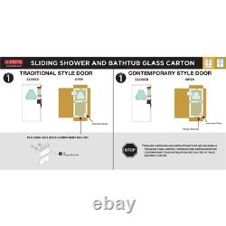 Delta Bathtub Shower Door Glass Panel Clear Tempered (1-paire Pour 50-60 In. Porte)