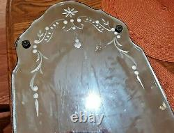 Vtg Beveled Edge Etched Wall Mirror Frameless Antique MID Century 23.5 X 11
